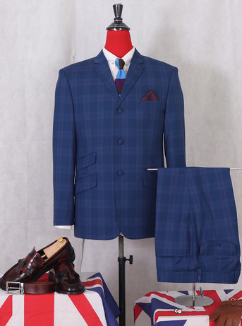 KENNY JONES BURGUNDY CHECK NAVY BLUE 2 PIECE 3 BUTTON MOD SUIT UK