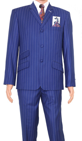 Suit |  Vintage classic royal blue with white striped 60s suit for men