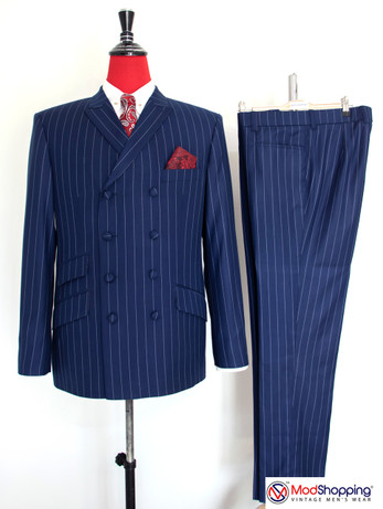 Double breasted suit | Navy blue double breasted suit with white striped 60s suit men