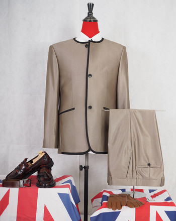 Gold tonic modshopping Collarless Classic 3 Button Beatles tonic suit for men