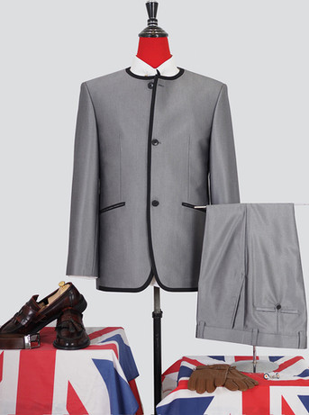Silver blue modshopping Collarless Classic 3 Button Beatles tonic suit for men