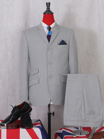TAILORED 60s DESIGN LIGHT GREY PINSTRIPED SUIT FOR MEN
