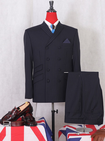 VINTAGE STYLE CLASSIC PIN STRIPE DARK BLUE 4/8 DOUBLE BREASTED SUIT FOR MEN