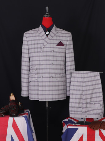 Double breasted suit| Classic 69's Mod grey colour check suit for men