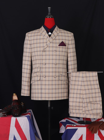 Classic late 60's vintage style beige colour check double breasted suit for men
