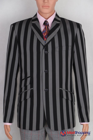 Black and gray stripe  blazer | Black and gray stripe   60s tailored mod style blazer