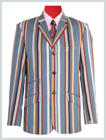 Sky blue, Yellow, maroon, & white Stripe blazer | Sky blue, Yellow, maroon, & white Stripe  60s tailored mod Stripe blazer
