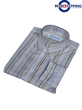 Button down pointed  collar shirt | Multi color stripe shirt for men