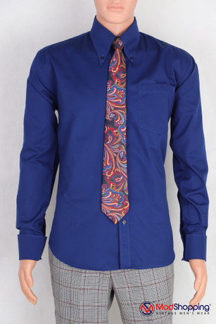 Button down pointed  collar shirt | Blue fill color shirt for men