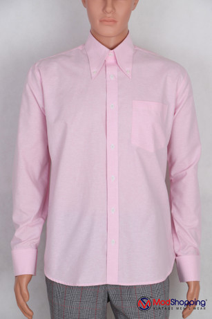 Button down pointed  collar shirt | Bright pink color shirt for men