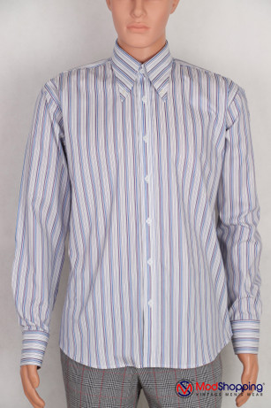 Button down pointed  collar shirt | White stripe shirt for men