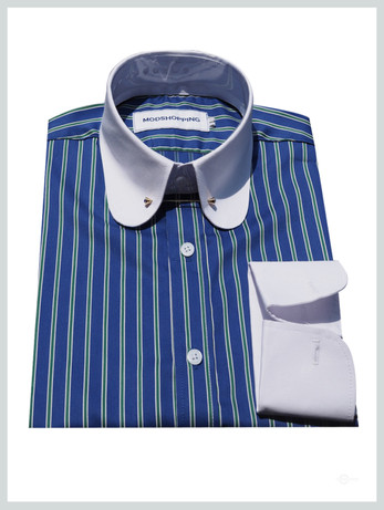 Penny pin  collar shirt | Blue white stripe shirt for men