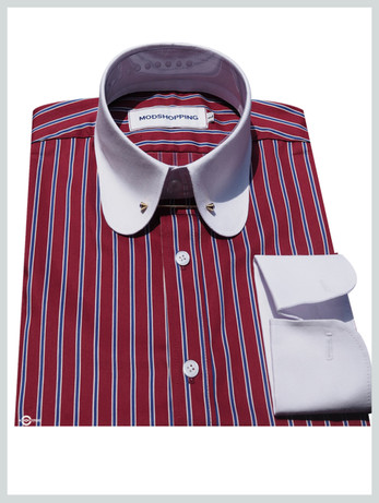 Penny pin  collar shirt | Red stripe shirt for men