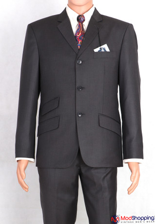 shark skin charcoal gray 60s suit for man