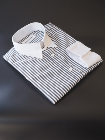 Gray stripe round collar mod shirt uk