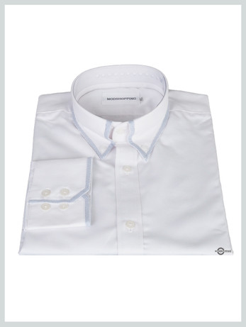 Button down pointed collar shirt   white trim  color shirt for men