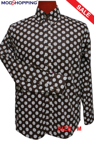 Polka Dot Shirt| Mens Big White Dot Brown Polka Dot Shirt Uk Sale