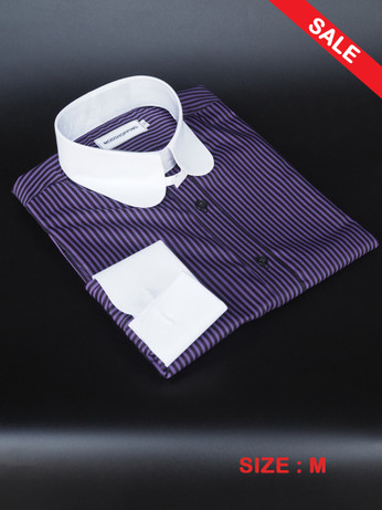 Tab Collar Shirt| Purple & Black Colour Tab Collar Shirt Sale