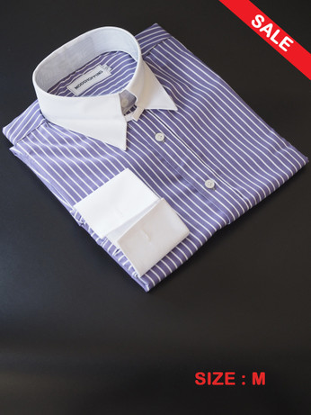 Tab Collar Shirt| White Stripe In Rich Lilac Mod Shirt Sale