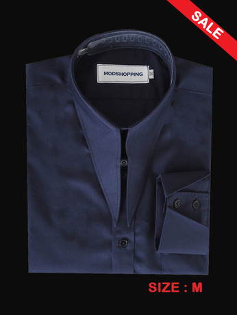 Long Tab Collar Vintage Style Navy Blue Shirt SALE