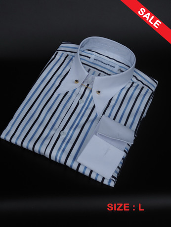 Pin Collar Shirt Blue & Black SALE