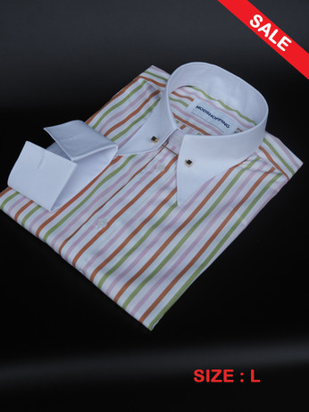 Pin Collar Shirt White Stripe Shirt SALE