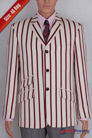 Red striped off-white blazer | 60s mod fashion tailored 3 button striped casual red off-white 40R jacket