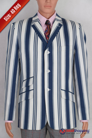 Blue striped white blazer| 60s mod fashion tailored 3 button striped casual red off-white 40R jacket