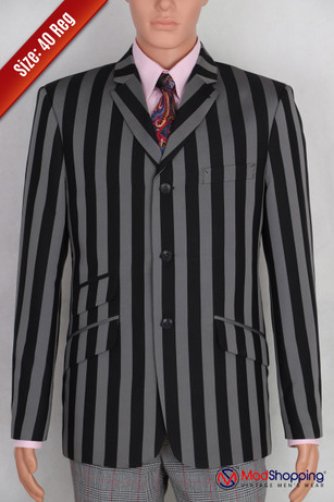 Black and gray stripe blazer | Black and gray stripe 60s tailored mod style 40R jacket