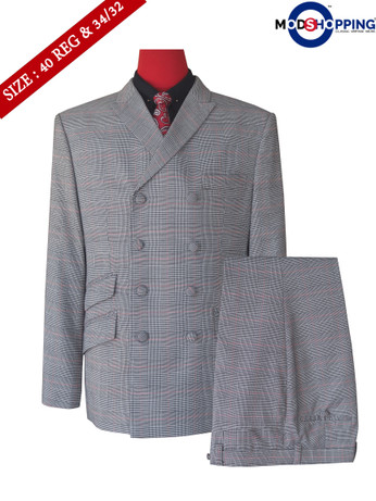 Mod style 60s fashion check double breasted suit tailored  40R jacket & 34/32 trouser