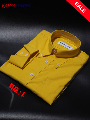 Button Down Pointed Collar Shirt | Yellow Color sale