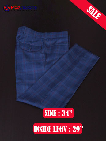 KENNY JONES BURGUNDY CHECK NAVY BLUE TRIUSER SALE