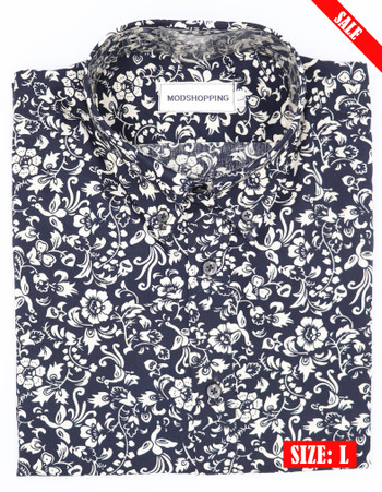 navy blue and white flower shirt