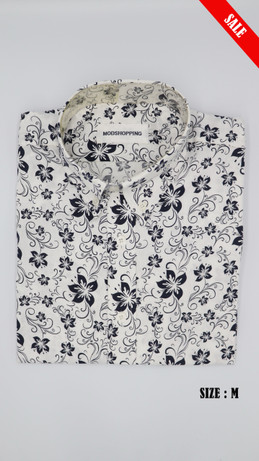 White & black flower shirt long sleeves shirt