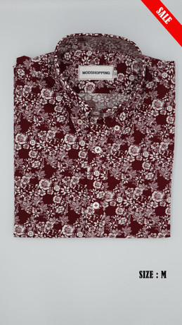 burgundy & white Flower shirt long sleeve shirt