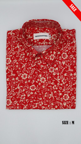 Red & White Flower Long Sleeve Shirt