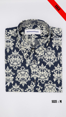 Navy blue & white Floral long sleeve shirt