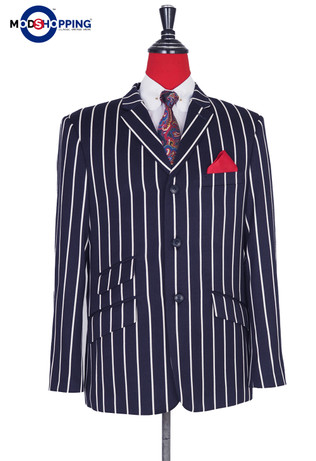 Stripe Blazer| Navy Blue Stripe Vintage Style Botating Blazer Jacket For Men