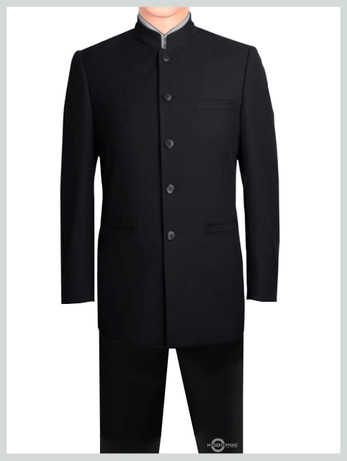 Grand dad collar Black Suit  For Man | Tailored Black Mod Suit 4 Button