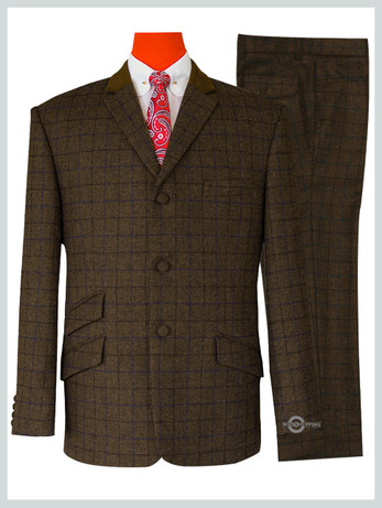 Modshopping | Coffee Brown tweed stuning shadow check suit.