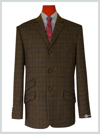 modshopping | Coffee Brown Color Navy Blue & Black Check Jacket For Man