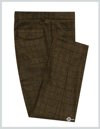 modshopping | Coffee Brown Color Navy Blue & Black Check Trouser For Man
