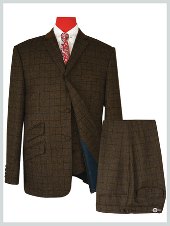 mod shopping 3 Piece  | Coffee Brown Color Navy Blue & Black Check Suit For Man