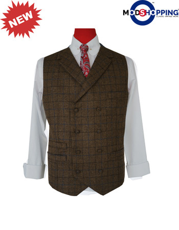 Modclothing | Coffee Brown Color Navy Blue & Black Check Waist Coat  For Man
