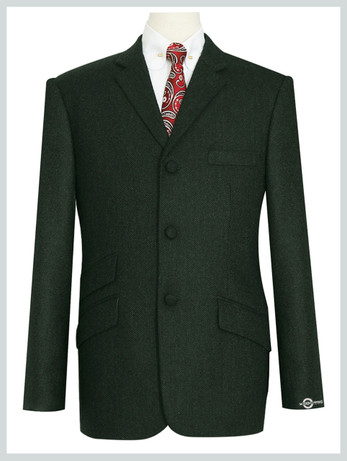 Mod Tweed Jacket |  Dark Green Color Mod Jacket For Men