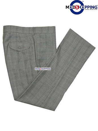 Classic Prince of wales grey mod mens trouser uk