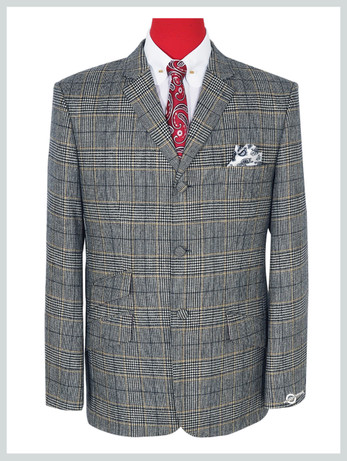Prince of wales Check Jacket Grey  Color Jacket For Man