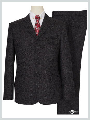 Mod Tweed Suit | Charcoal Grey 4 Button Suit for Man