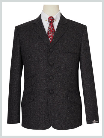 Mod Tweed Jacket | Charcoal Grey 4 Button Jacket for Man