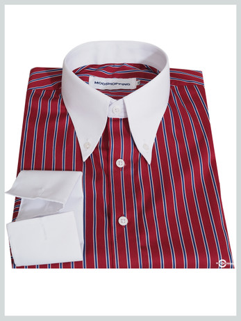 Button Down Collar Shirt | Red Stripe Shirt For Men